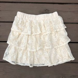 Cream Layered Floral Lace Mini Skirt - Small